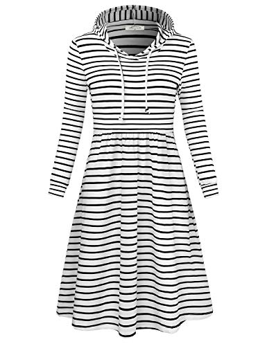 SeSe Code Casual Dresses for Juniors, Women's Long Sleeve Empire Waist Pleated Loose Swing Fashion Hooded Striped Pattern Polyester and Spandex Jumper Pullover Dress White Black Large ()