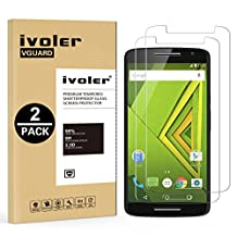 [2 Pack] Motorola Moto X Play Screen Protector- iVoler Premium Tempered Glass Screen Protector for Motorola Moto X Play - 0.2mm Ballistics Glass, 2.5D Round Edge, 9H Hardness Featuring Anti-Scratch, Anti-Fingerprint, Bubble Free- Lifetime Replacement Warranty