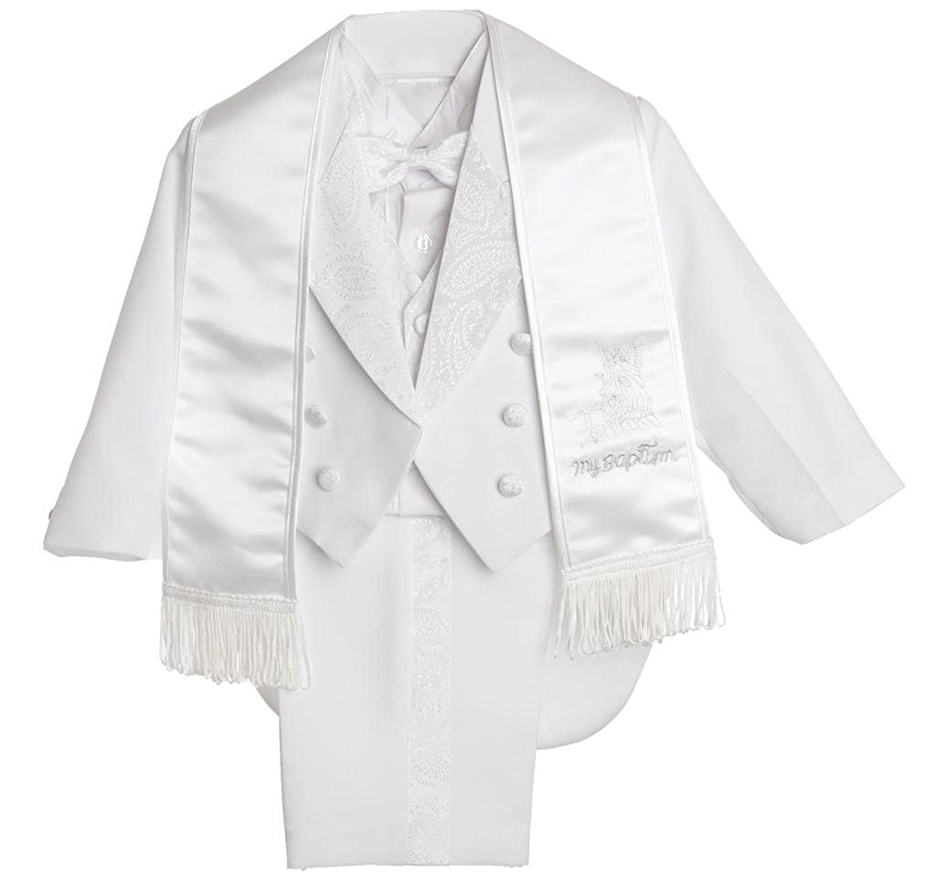 CALDORE USA Baby Boys All White Christening Outfit, Tail Paisley Tuxedo Suit Design, Angel Baptism Embroidered Jacket