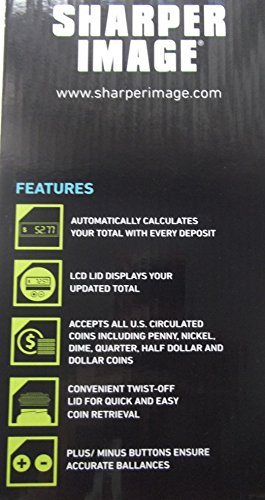 Sharper Image Digital Counting Money Jar with LCD Display, Counts All U.S. Coins by Sharper Image (Image #2)