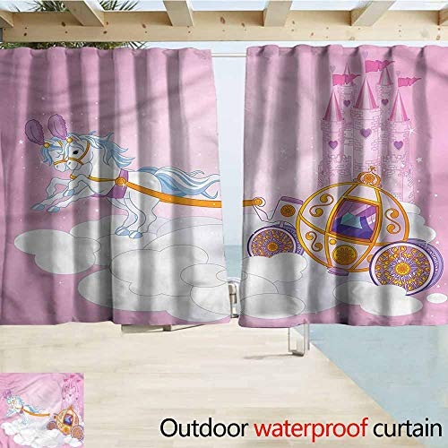 Indoor/Outdoor Print Window Curtain Princess Fairy Tale Carriage in Sky Room Darkening, Noise Reducing W72x72L Inches