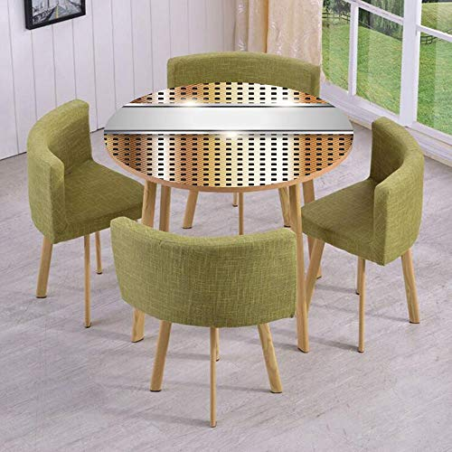 iPrint Round Table/Wall/Floor Decal Strikers,Removable,Copper Iron Close Up Surface Band Mechanical High Tech Image Decorative,for Living Room,Kitchens,Office Decoration ()