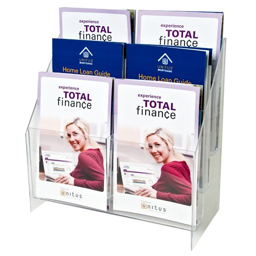 Clear-Ad - MPF-5585-6 - Premium Acrylic 3 Tier 6 Pockets Brochure Holder 5.5x8.5 - Transparent Plastic Pamphlet Display Stand (Pack of (Catalog Plastic Models)