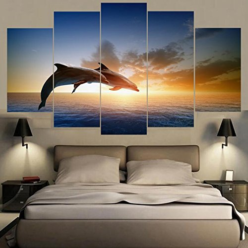[LARGE] Premium Quality Canvas Printed Wall Art Poster 5 Pieces / 5 Pannel Wall Decor Jumping Dolphins Painting, Home Decor Pictures - With Wooden Frame