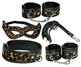 Kinky Collection Bondage Set Fetish Roleplay Slave 5 Pcs Leopard Eye Mask/wrist Cuffs/ankle Cuffs/whip/collar (Free Shipping) J1556
