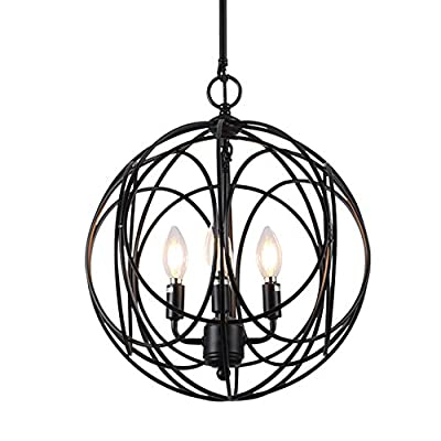 Horisun 4 Lights Industrial Vintage Lighting Sphere Chandelier E12 Globe Shade Hanging Pendant Lamp, 5 Years Warranty