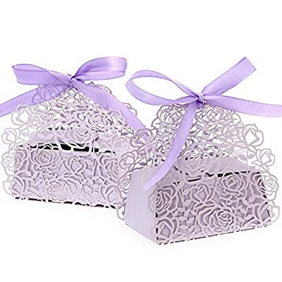 WOMHOPE® 50 Pcs - Roses Flowers Wedding Candy Box Chocolate Candy Holders Bomboniere Party Favors - Shimmering Laser Cut with Ribbons for Bridal Shower,Wedding,Party,Birthday Gift