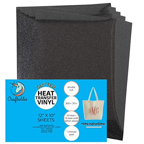 Craftables Black Glitter Heat Transfer Vinyl, HTV - 5 Sheets Sparkling Easy to Weed Tshirt Iron on Vinyl for Silhouette Cameo, Cricut, All Craft Cutters. Ships Flat