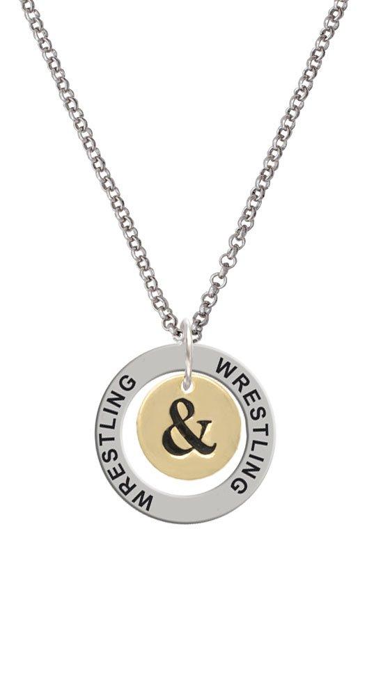 Gold Tone Disc 1/2'' - Symbol - Ampersand - & - Wrestling Affirmation Ring Necklace