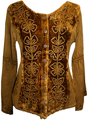 Together Embroidered Top (Agan Traders 504 B Renaissance Vintage Renaissance Top Blouse (M, Old Gold))