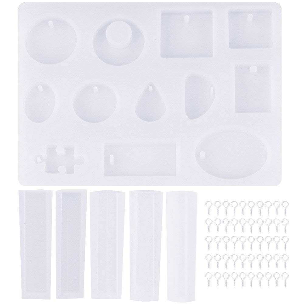 BUZIFU 17PCS Silicon Mould Resin Casting Moulds Kits Semi-Transparent Silicone Jewelry Moulds for Pendant Bangle Earrings Necklaces DIY Craft 17 Shapes