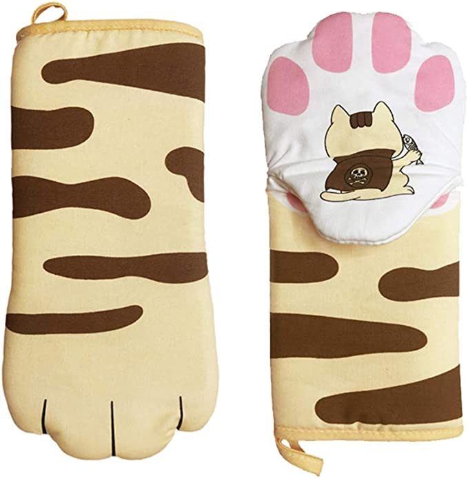 Details about  /Long Heat Resistant Baking Oven Mitts Cotton Blend Insulated Cat Paws Hanging