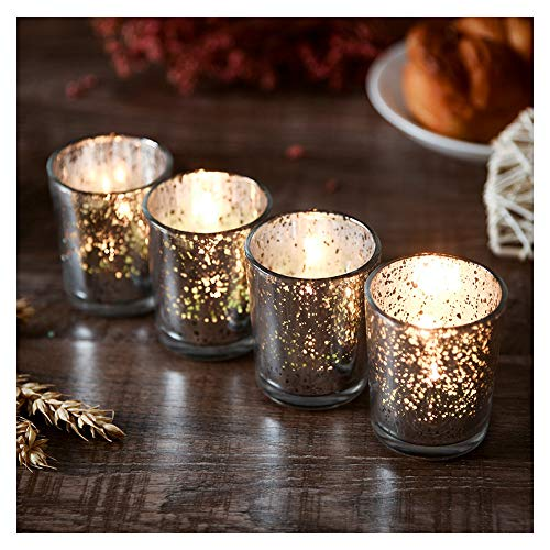 (Supreme Lights Mercury Votive Candle Holders, Speckled Glass Tealight Holder, 2.45-inch Tall(Set of 12, Silver))