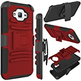 J7 Case, Galaxy J7 J700 Case, Zenic(TM) Hybrid Full-body Protective Case Cover with Kickstand & Belt Clip Holster Combo for Samsung Galaxy J7 (2015 Released) All Carriers (Red/Black)