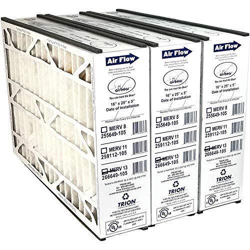 "Trion 266649-105 (3-Pack) - 16"" x 25"" x 5"" MERV 13 Pleated Air Filter"