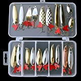 Isafish Metal Spoon Fishing Lures Kit Pack of 21 Pcs Artificial Hard Bait with Fishing Hook Fishing Tackle Box Salmon Spoons Lures Set