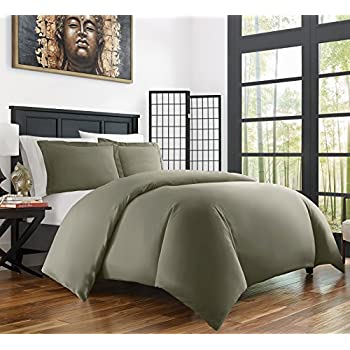 Zen Bamboo Ultra Soft 3-Piece Bamboo Derived from Rayon and Microfiber Blend Duvet Cover Set - Hypoallergenic and Wrinkle Resistant - Full/Queen - Olive
