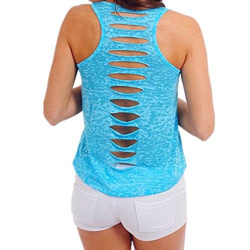 Hrph Señoras hueco trasero sin mangas Bodycon Tank Top Las mujeres atractivas camiseta Solid Vest Tops Azul