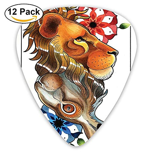 (Reversible Double Up Down Leon And Rabbit Figures With Mandala Cosmos Pattern Guitar Picks 12/Pack Set)