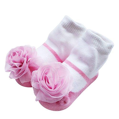 Vimuntado Baby Girls Bootie Sock Cotton Newborn Infant Ruffle Lace Bow Socks 12m (0-12 Months, -