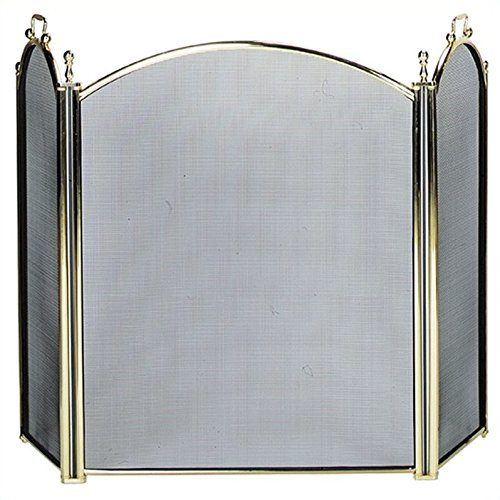 Uniflame 3 Fold Large Diameter Polished Brass Screen with Woven Mesh by Uniflame