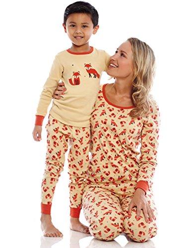 Leveret Womens Pajamas Fitted Printed Owl 2 Piece Pjs Set 100% Cotton Sleep Pants Sleepwear (XSmall-XLarge)