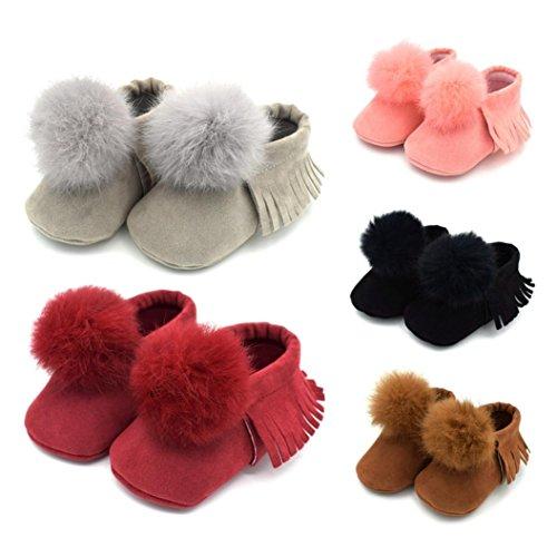 HUHU833 Neugeborene Säuglingsbaby Mädchen Soft Crib Schuhe Kleinkind Schuhe, Nette Kugel Troddel Krippe Schuhe, Runde Zehe weiche alleinige Anti Rutsch Schuhe Schwarz