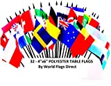 WORLD CUP 2018 SOCCER FLAGS 2018- SET of 32 Polyester 4''x6'' Flags, One Flag for Each Team Competing For the Cup, 4x6 Miniature Desk & Table Flags, Small Mini Stick Flags