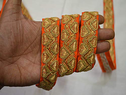Tejido de seda Venta al por mayor Ajuste decorativo de tela naranja Por 9 yardas Hilo dorado Adornos bordados Edredón loco...