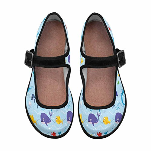 Interestprint Mujeres Comfort Mary Jane Flats Zapatos Casual Para Caminar Multi 14