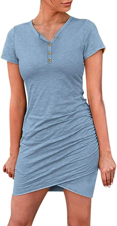 Committede Damen Enges Knopf Kleid Sommerkleid V-Ausschnitt