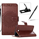 Strap Leather Case for Samsung Galaxy J7 2017 J730,Flip Wallet Cover for Samsung Galaxy J7 2017 J730,Herzzer Elegant Classic Solid Color Mandala Flower Printed Magnetic Purse Folio Smart Stand Cover with Card Cash Slot Soft TPU Inner Case