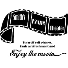 Custom Home Theater Sign- Large Vinyl Wall Decal (Black)