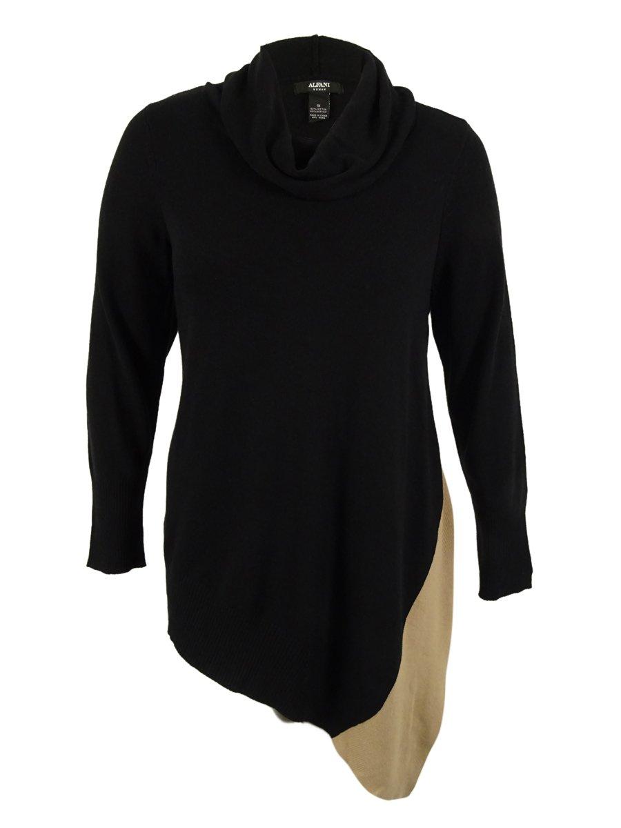 Alfani Women's Cowl Neck Asymmetrical Colorblock Sweater (L, Deep Black Combo)