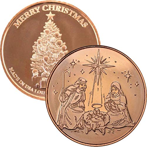 - Christmas Series 1 oz .999 Pure Copper Round/Challenge Coin (Christmas Tree Back) (Nativity)