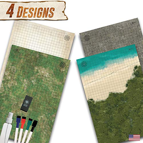 Battle Grid Game Mat - 2 Pack Double Sided 24
