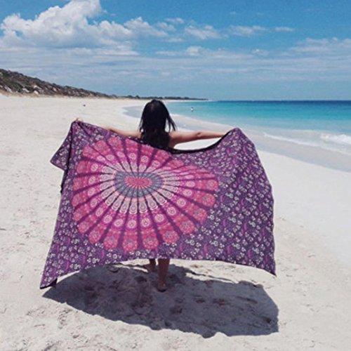 Beach Cover Up , FUA Bikini Boho Summer Dress Swimwear Bathing Suit Kimono Tunic (Hot Pink)