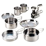 edc stove - Camping Cookware AIWAYING Cooking Tool Set Pot Pan (8pcs/set, 410 Stainless Steel) + Camping Stoves with Piezo Ignition For Trekking Hiking Backpack Picnic Outdoor EDC Tactical Sets