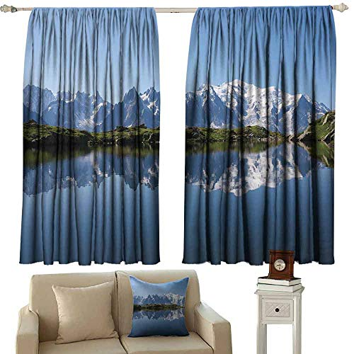 DUCKIL Exquisite Curtain Lake Mont Blanc Mountain Range Reflected in Cheserys Lake Alps France Panorama Thermal Insulated Tie Up Curtain W55 xL39 Pale Blue White Green]()