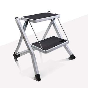 VI-CO Folding 2 Step Stool with Handgrip and Anti-Slip Platform, Portable Lightweight Step Ladder, 300 lbs Capacity