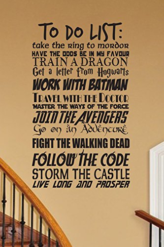 CUSTOMIZABLE To Do List Geek wall decal V2 vinyl wall decal fandom Fantasy cosplay fandom nerd geekery storybook nursery
