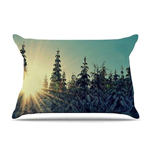 Kess InHouse Robin Dickinson Shine Bright Snowy Trees Fleece Pillow Case, 30 x 20