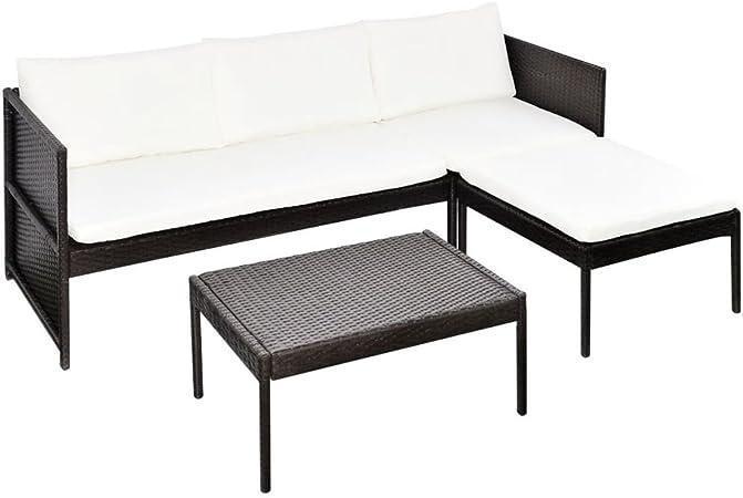 vidaXL Set de Muebles de Jardín con Sofá de 3 Plazas Ratán Sintético Marrón Mobiliario de Patio Sillones Mesa Asientos de Exterior Marerial Mimbre: Amazon.es: Hogar