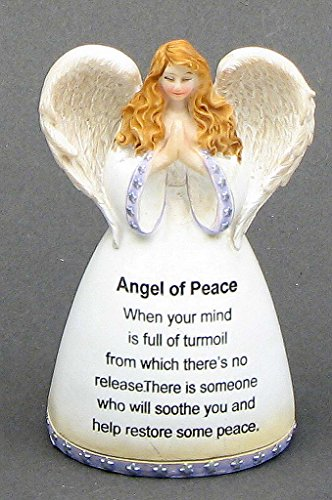 Winged Angel of Peace Statue Porcelain Call Bell Figurine Prayer Display Home Tabletop Collectible Christmas Sculpture Best Gift Ideas Bereavement Memorial Ornament