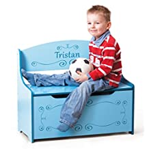 Wymo Kids Toy Box Blue, Boys. We Will Customize With Your Child's Name. Inscribed Toys Storage & Bench Seat For Kids Bedroom or Playroom
