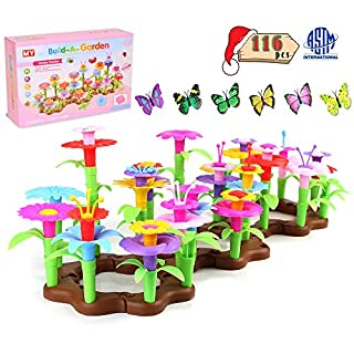 RUZINON Flower Garden Building Toys with Vivid Butterflies, Flower Playset Creative Kids Educational Giftsfor Toddlers Preschool Stacking Game for 3 4 5 6 Year Old GirlsKids
