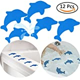S&X Non-Slip Bath Stickers,Grippy Dolphin Adhesive Safety Treads for Bathtubs/Showers/Pools/Bathrooms/Staris,4.7'' X 3.9'',12Pcs Per Pack