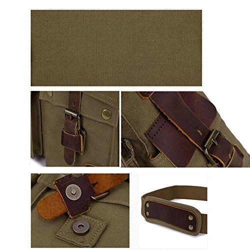 Jonon Vintage Military Men Canvas Umhängetasche für 13.3-17 Laptop (Größe 17.3, braun)