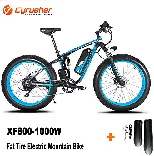 Cyrusher XF800 1000W Electric Mountain Bike 26inch Fat Tire e-Bike 7 Speeds Snow Beach Cruiser Mens Sports Mountain Bike Full Suspension 48V 13AH Lithium Battery Hydraulic Disc Brakes