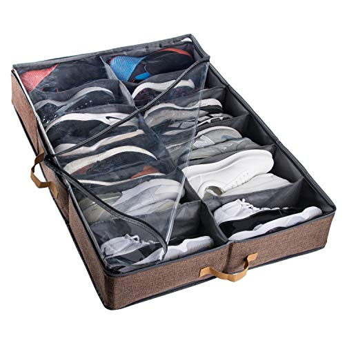 ACMETOP Extra-Large Under Bed Shoe Storage Organizer, Built-in Structure & Durable Materials, Underbed Storage Solution for Men's Size 13 Sneaker & Women's 6'' High-Heels (12 Cell, Brown) ()